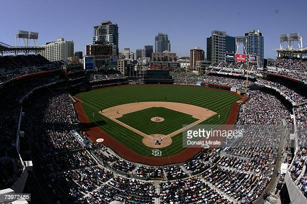 General View as Terrmel Sledge of the San Diego Padres bats against the Arizona Diamondbacks in the seventh inning on April 19, 2007 at Petco Park in...
