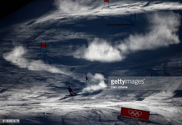 A general view as Tessa Worley of France competes during the Ladies' Giant Slalom on day six of the PyeongChang 2018 Winter Olympic Games at...