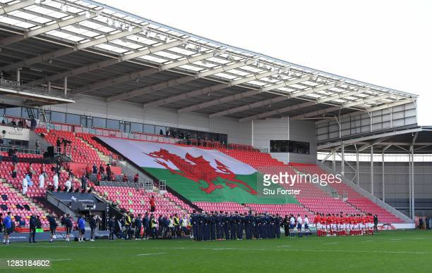 General view as the 2 teams line up for anthems during the 2020 Guinness Six Nations match between Wales and Scotland at Parc y Scarlets on October...