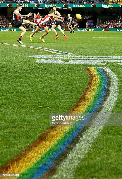 A general view as the 50 metre arcs are painted rainbowcoloured during the round 21 AFL match between the St Kilda Saints and the Sydney Swans at...