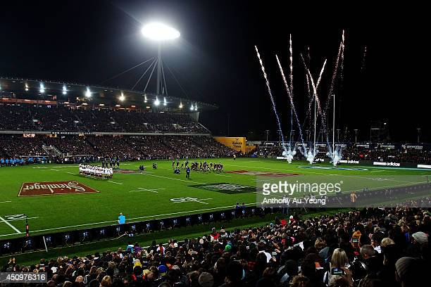 General view as the All Blacks perform the haka prior to the International Test match between the New Zealand All Blacks and England at Waikato...