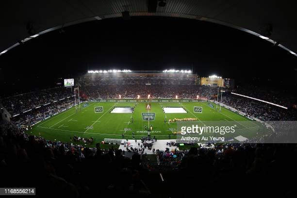 General view as the All Blacks run out to the field during The Rugby Championship and Bledisloe Cup Test match between the New Zealand All Blacks and...