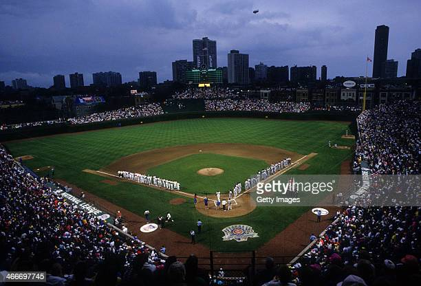 General view as the American League and National League All-Stars are introduced before the game on July 10, 1990 at Wrigley Field in Chicago,...