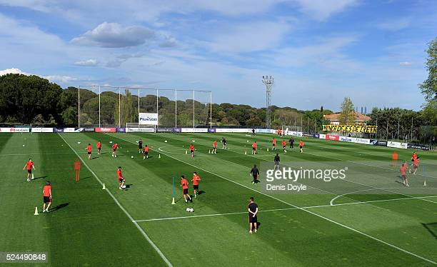 A general view as the Atletico Madrid players warm up during a training session ahead of the UEFA Champions League SemiFinal First Leg between Club...