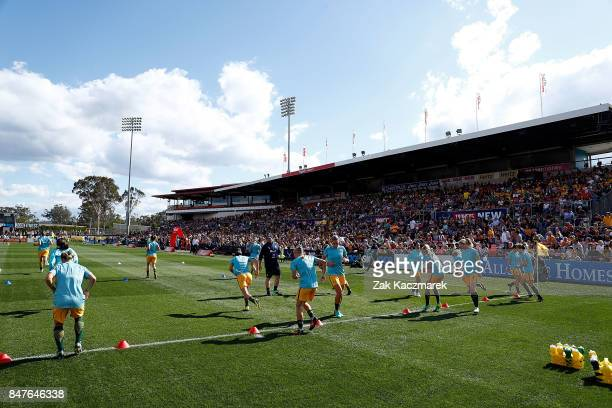 A general view as the Australia Matildas warmup before kickoff during the women's international match between the Australian Matildas and Brazil at...