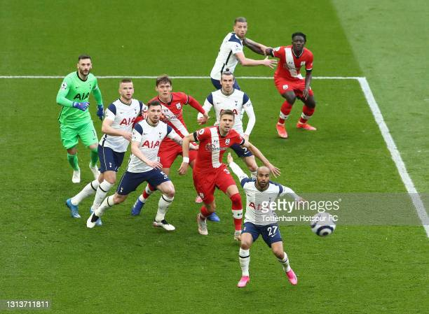General view as the ball comes across during the Premier League match between Tottenham Hotspur and Southampton at Tottenham Hotspur Stadium on April...