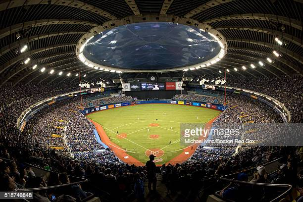 General view as the Boston Red Sox and the Toronto Blue Jays play on April 2 2016 at Olympic Stadium in Montreal Quebec