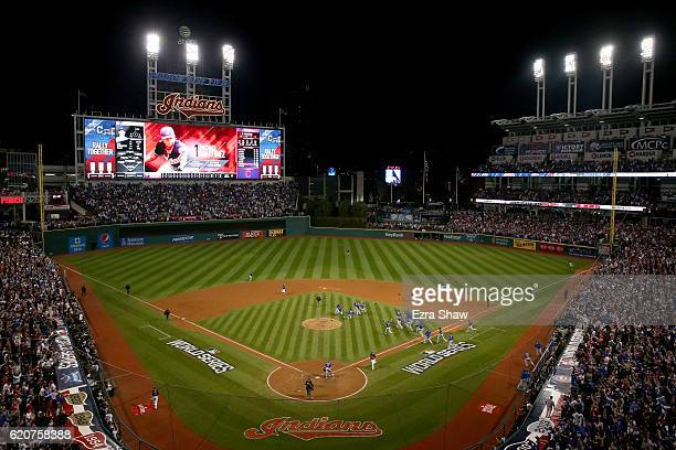 General view as the Chicago Cubs celebrate after defeating the Cleveland Indians 8-7 in Game Seven of the 2016 World Series at Progressive Field on...