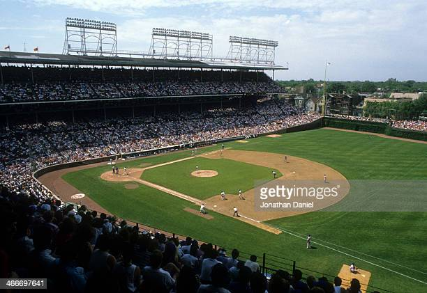General view as the Chicago Cubs play against the New York Mets in June 1989 at Wrigley Field in Chicago Illinois