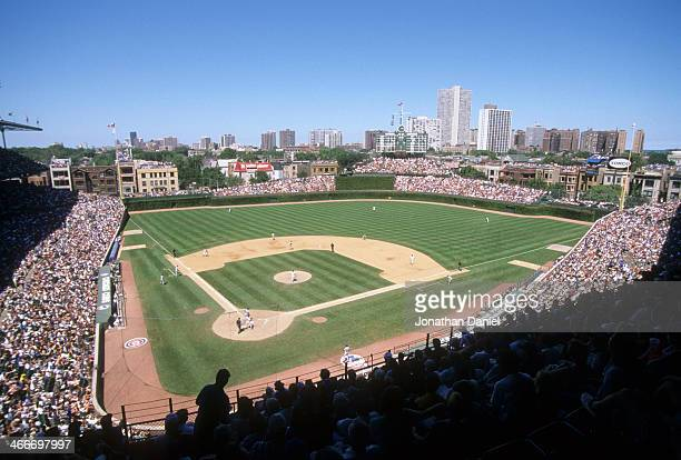 General view as the Chicago Cubs take on the Montreal Expos on August 5, 1999 at Wrigley Field in Chicago, Illinois.