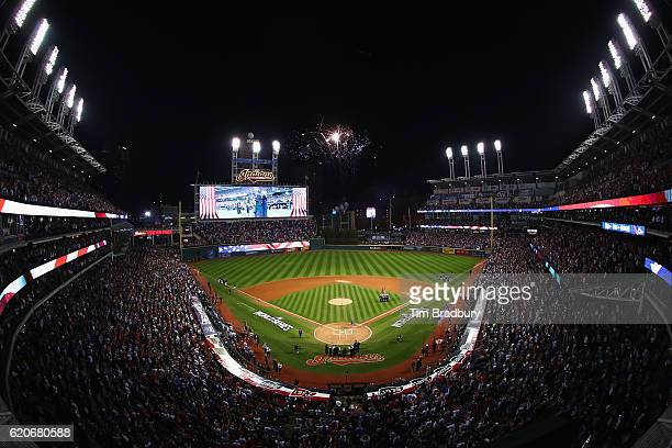 General view as the Cleveland Indians and Chicago Cubs stand for the national anthem prior to Game Seven of the 2016 World Series at Progressive...
