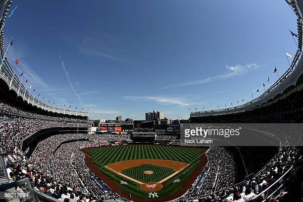 A general view as the Cleveland Indians play the New York Yankees during opening day at the new Yankee Stadium on April 16 2009 in the Bronx borough...
