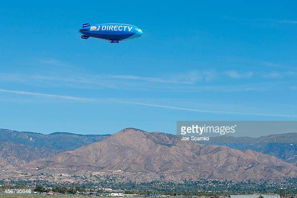 A general view as the DIRECTV Blimp Makes Its First Trip Out West at San Bernardino Airport on October 3 2014 in San Bernardino California