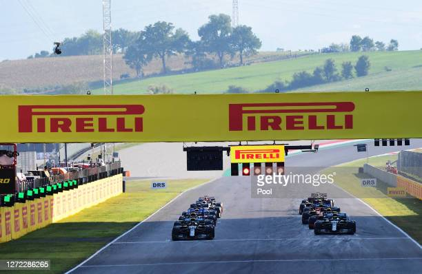 A general view as the drivers prepare to drive following the restart during the F1 Grand Prix of Tuscany at Mugello Circuit on September 13 2020 in...