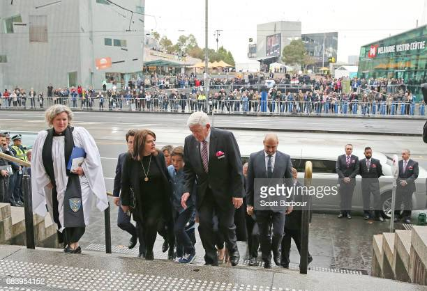 A general view as the family of Lou Richards arrive during the Lou Richards State Funeral Service at St Paul's Cathedral on May 17 2017 in Melbourne...