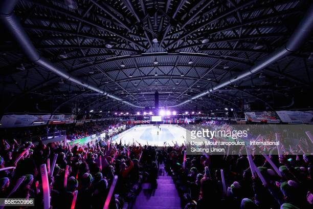 A general view as the fans cheer the 1000m Preliminaries during the Audi ISU World Cup Short Track Speed Skating at Optisport Sportboulevard on...