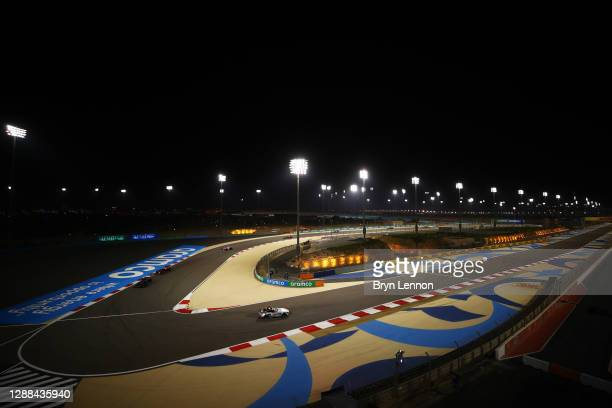 General view as the FIA Safety car leads the field during the F1 Grand Prix of Bahrain at Bahrain International Circuit on November 29, 2020 in...