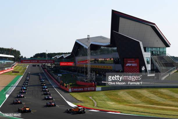 General view as the field form up on the grid before race one of the Formula 3 Championship at Silverstone on August 08, 2020 in Northampton, England.
