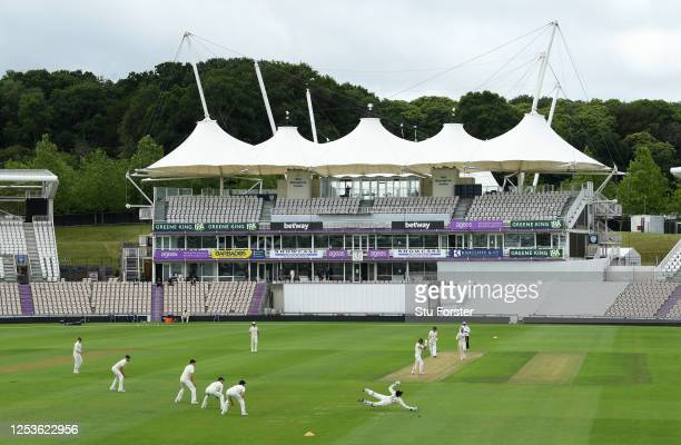 A general view as the first ball is bowled during Day One of a England Warm Up Match at the Ageas Bowl on July 01 2020 in Southampton England