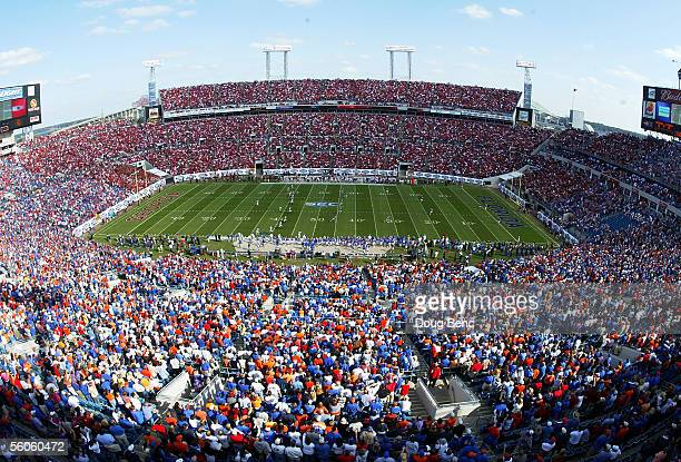 A general view as the Florida Gators take on the Georgia Bulldogs in the first quarter at Alltel Stadium on October 29 2005 in Jacksonville Florida...