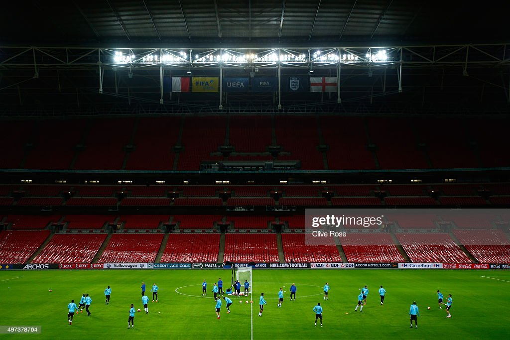 A general view as the French players train during the France training session at Wembley Stadium on November 16, 2015 in London, England.