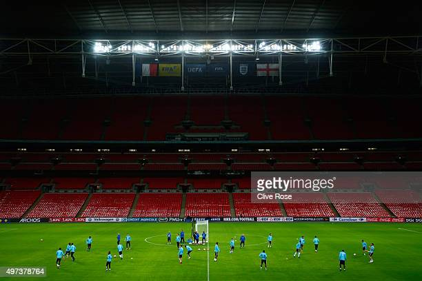 A general view as the French players train during the France training session at Wembley Stadium on November 16 2015 in London England