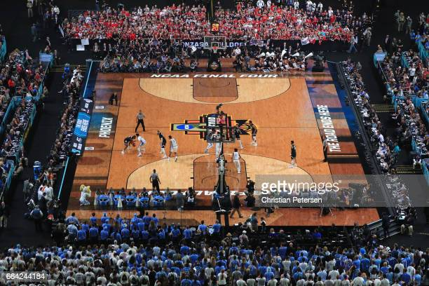 A general view as the Gonzaga Bulldogs take on the North Carolina Tar Heels during the 2017 NCAA Men's Final Four National Championship game at...