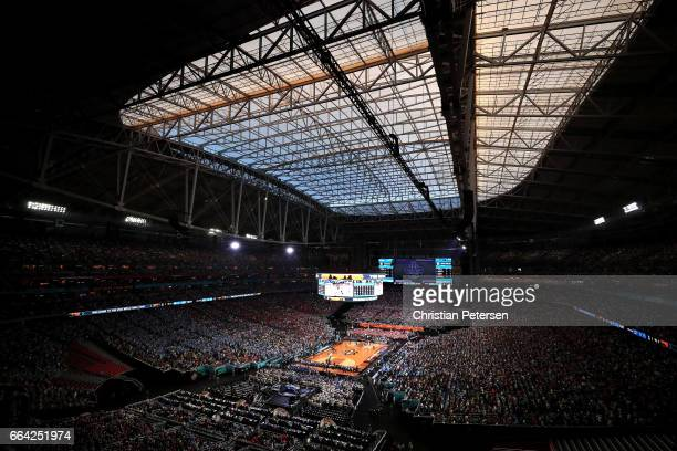 A general view as the Gonzaga Bulldogs take on the North Carolina Tar Heels in the first half during the 2017 NCAA Men's Final Four National...