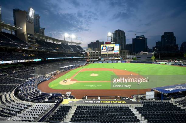 General view as the Houston Astros play against the San Diego Padres during the fourth inning of a baseball game at Petco Park on August 21, 2020 in...