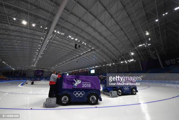 A general view as the ice is resurfaced during previews ahead of the PyeongChang 2018 Winter Olympic Games at Gangneung Ice Arena on February 6 2018...