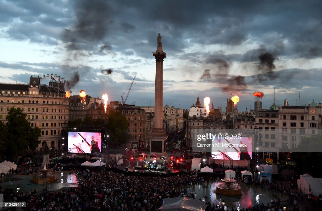 A general view as the Kaiser Chiefs perform on stage at the F1 Live in London event at Trafalgar Square on July 12, 2017 in London, England. F1 Live London, the first time in Formula 1 history that all 10 teams come together outside of a race weekend to put on a show for the public in the heart of London.