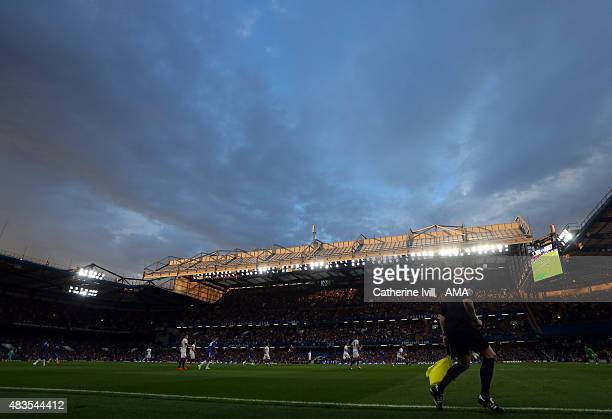 General view as the last of the sun shines on the roof of the stadium during the preseason friendly between Chelsea and Fiorentina at Stamford Bridge...