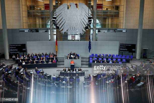 General view as the leader of the Social Democratic Party Andrea Nahles speaks during a debate at the Bundestag the lower house of parliament for the...