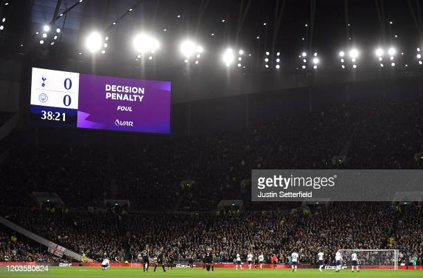 A general view as the LED screen shows information during a VAR penalty decision during the Premier League match between Tottenham Hotspur and...
