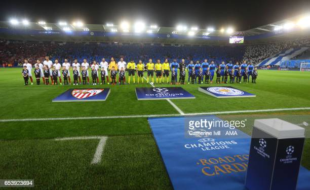 General view as The Leicester City and Sevilla teams line up ahead of the UEFA Champions League Round of 16 second leg match between Leicester City...