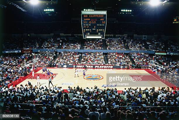 A general view as the Los Angeles Clippers play against the Utah Jazz on April 18 1997 at the Los Angeles Memorial Sports Arena in Los Angeles...