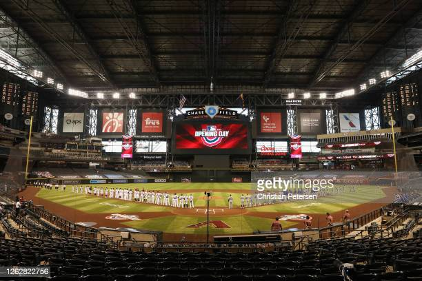 General view as the Los Angeles Dodgers and the Arizona Diamondbacks are introduced during Opening Day festivities before the MLB game at Chase Field...