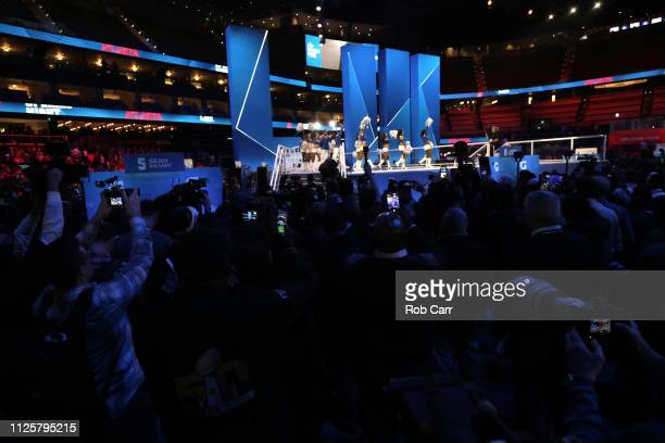 A general view as the Los Angeles Rams cheerleaders are seen during Super Bowl LIII Opening Night at State Farm Arena on January 28 2019 in Atlanta...