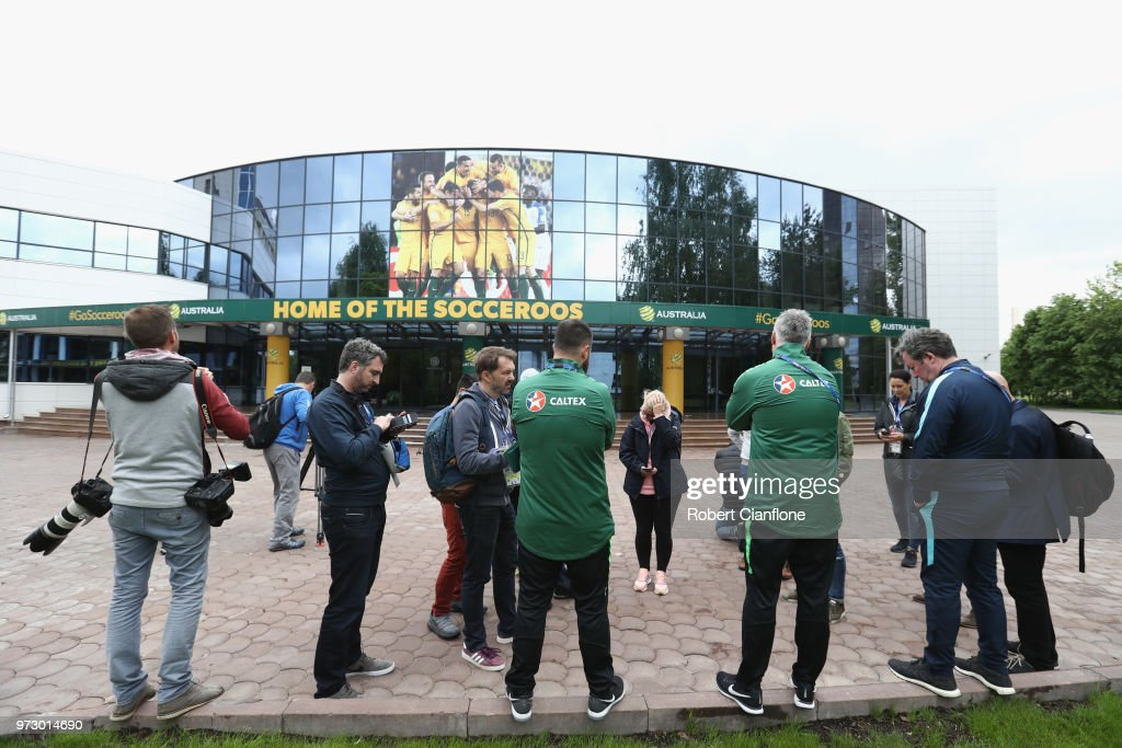 A general view as the media are shown the Australia Socceroos training facility ahead of the FIFA World Cup 2018at Stadium Trudovye Rezervy on June 13, 2018 in Kazan, Russia.