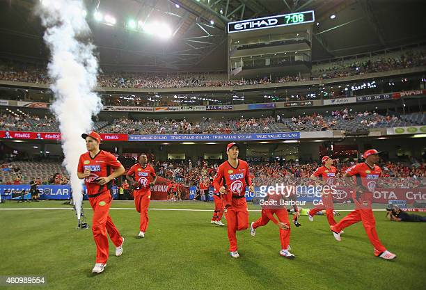 A general view as the Melbourne Renegades run out onto the field during the Big Bash League match between the Melbourne Renegades and the Melbourne...