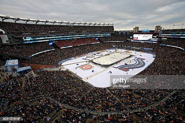 A general view as the Montreal Canadiens play the Boston Bruins during the 2016 Bridgestone NHL Winter Classic at Gillette Stadium on January 1 2016...