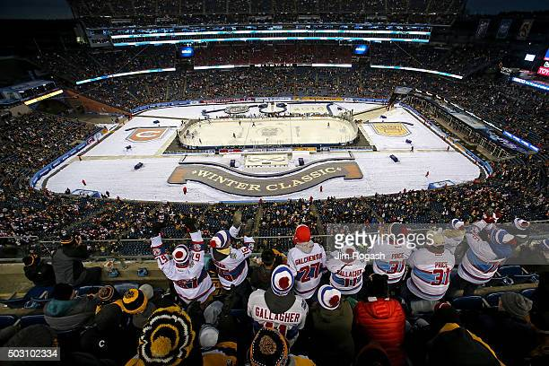 A general view as the Montreal Canadiens play the Boston Bruins in the third period during the 2016 Bridgestone NHL Winter Classic at Gillette...
