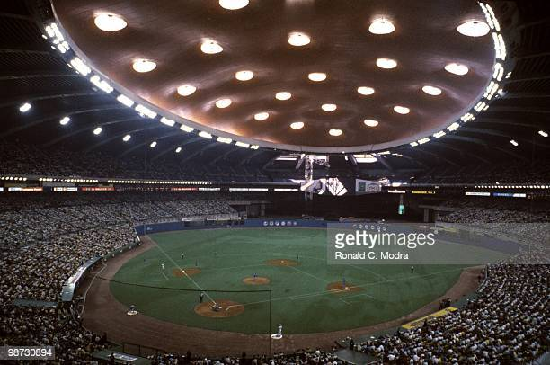 General view as the Montreal Expos play a MLB game against the Chicago Cubs at Olympic Stadium in April 1987 in Montreal Quebec Canada Photo by...