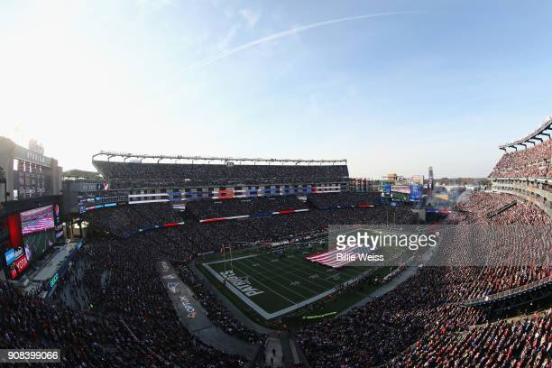 A general view as the National anthem is performed before the AFC Championship Game between the New England Patriots and the Jacksonville Jaguars at...
