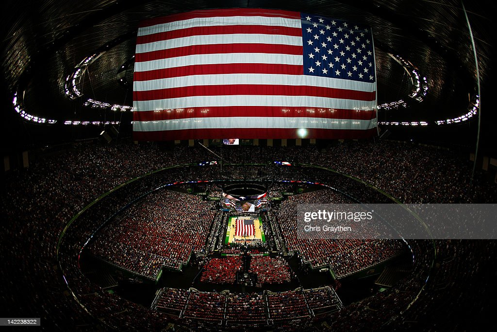 A general view as the national anthem is performed before the Louisville Cardinals take on the Kentucky Wildcats in the National Semifinal game of the 2012 NCAA Division I Men's Basketball Championship at the Mercedes-Benz Superdome on March 31, 2012 in New Orleans, Louisiana.