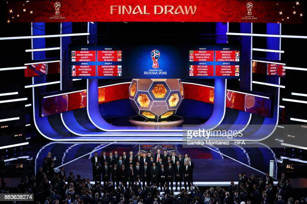 A general view as the national team managers pose for a photo on stage during the Final Draw for the 2018 FIFA World Cup Russia at the State Kremlin...