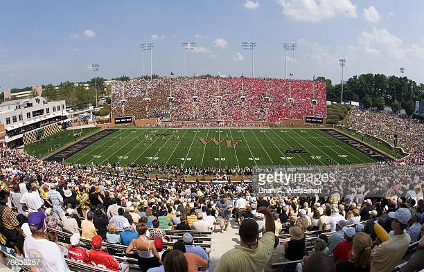 General view as the Nebraska Cornhuskers play against the Wake Forest Demon Deacons at BBT Stadium September 8 2007 in Winston Salem North Carolina