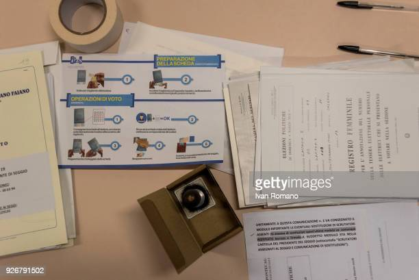 A general view as the new adhesive authentication labels for the election ballots for the Senate of the Republic and the Chamber of Deputies are...