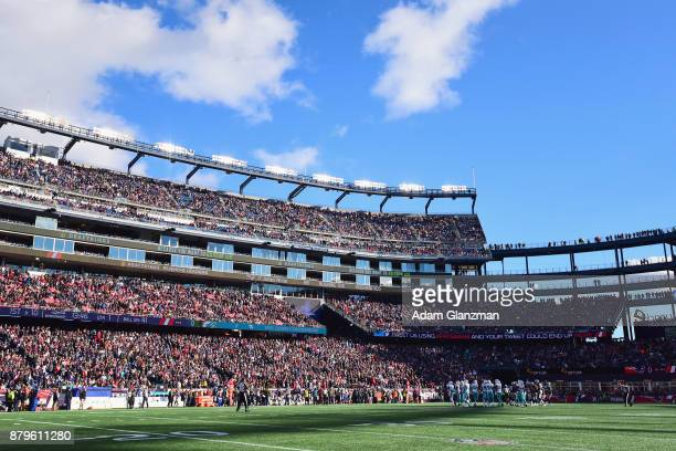 A general view as the New England Patriots play against the Miami Dolphins at Gillette Stadium on November 26 2017 in Foxboro Massachusetts