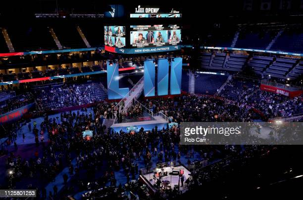 A general view as the New England Patriots talk with the media during Super Bowl LIII Opening Night at State Farm Arena on January 28 2019 in Atlanta...